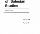 Journal Salesian Studies Volume 8 Issue 1