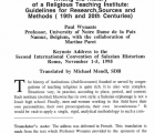 Writing the History of a Religious Teaching Institute: Guidelines for Research Sources and Methods 19th and 20th Centuries