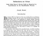 Reflections on Virtue: Saint John Bosco's Heroic Faith as Reported by Eyewitnesses in His Beatification Process